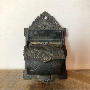 Antique Cast Iron Fireplace Match Holder Striker